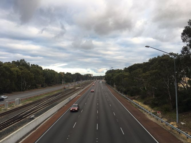 Police have reopened one lane on the Mitchell Freeway southbound this morning. Motorists are urged to avoid the area. Picture: Kelly Williams/Twitter.