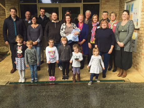 Canning MHR Andrew Hastie and Dawesville MLA Zac Kirkup with parents, children and staff at the Falcon centre.