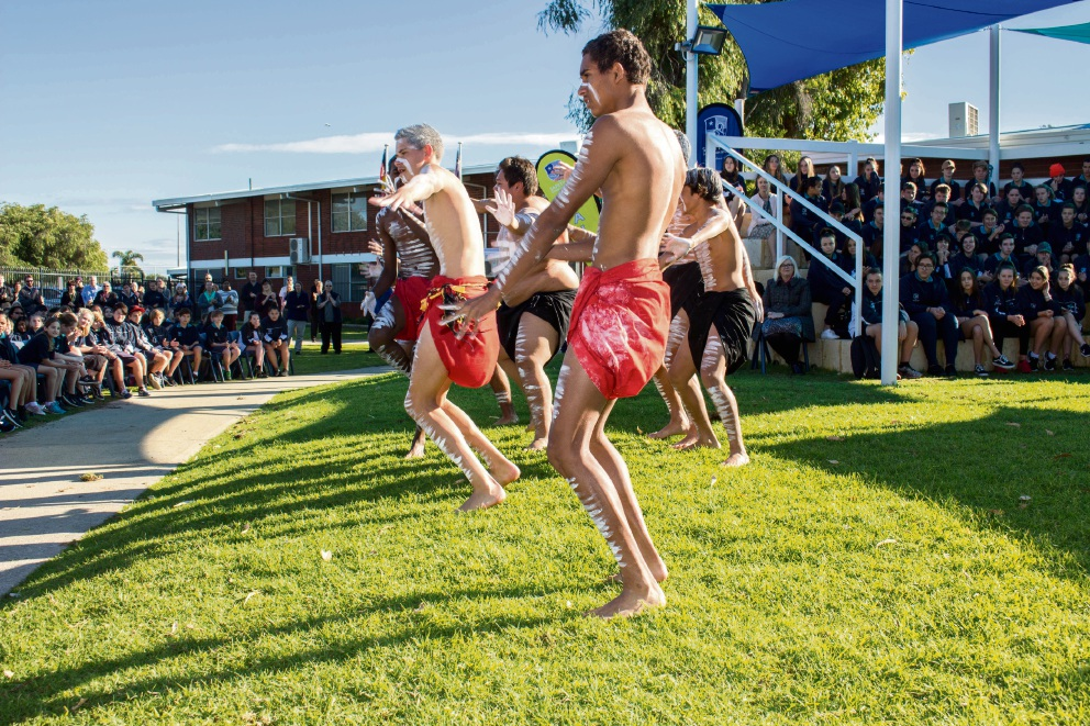 Moorditij Djoowak dancers at Safety Bay Senior High School.