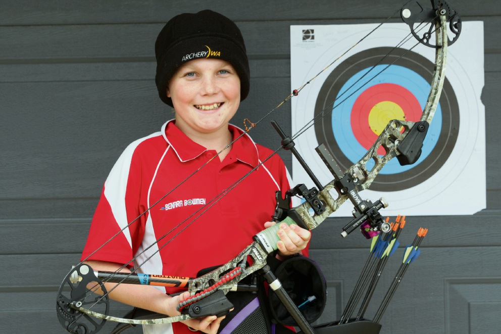Lewis Bower is passionate about archery.  Picture: Bruce Hunt d471512