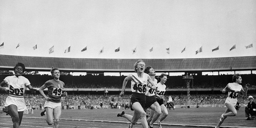 Betty Cuthbert wins gold in Melbourne in 1956. Photo: Getty