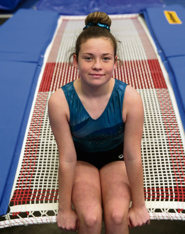 Mackenzie Jones of Treeby is a star on the trampoline. 