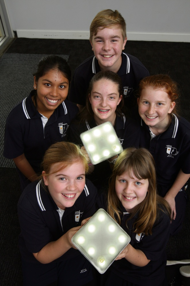 John Curtin College of the Arts students  Flynn McGahan (back), Gauthami Cumaran, Ruby Whitewood & Millie Cook (middle) and Meg Gibson and Matilda Conway (front) have built solar lights which will be donated to disadvantaged communities. Picture: Bruce Hunt www.communitypix.com.au   d472436