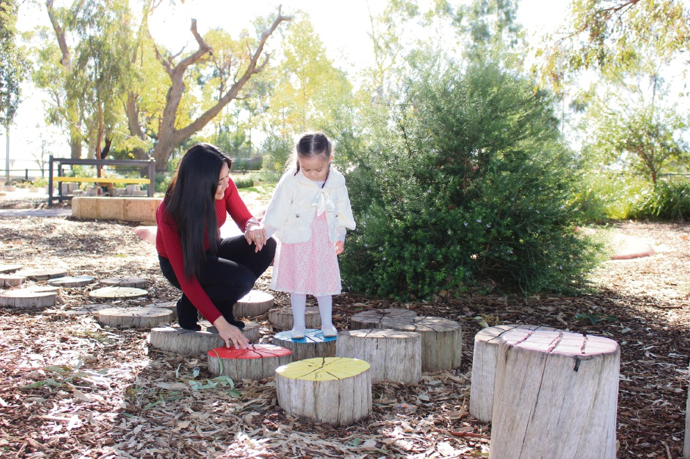 Landsdale resident Nancy Wilkes with daughter Mia (3) at Dinosaur Park in Madeley, where the City of Wanneroo added features to help children who are vision impaired