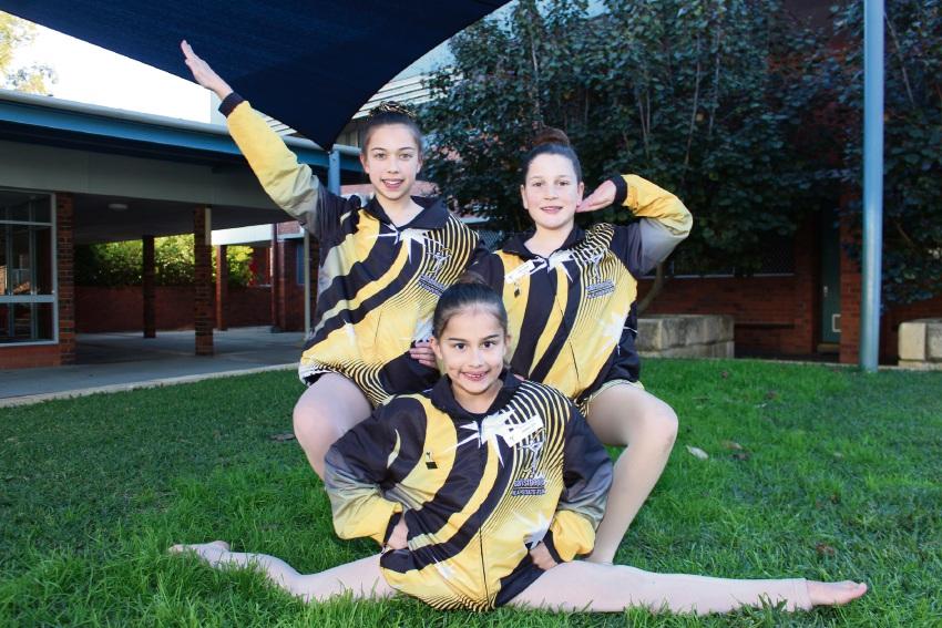 Applecross Calisthenics Club members Isabelle (12) and Jasmine Soh (8) and Ava Garbin (9).
