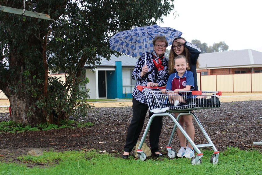 City of Gosnells Mayor Olwen Searle with sisters Alicia Ward and (in trolley) Mia.