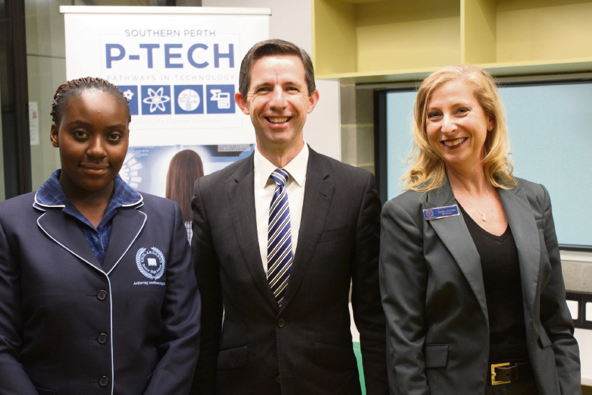 Student Mutinta Nangongwe, Education and Training Minister Simon Birmingham and Cecil Andrews College Principal Stella Jinman.