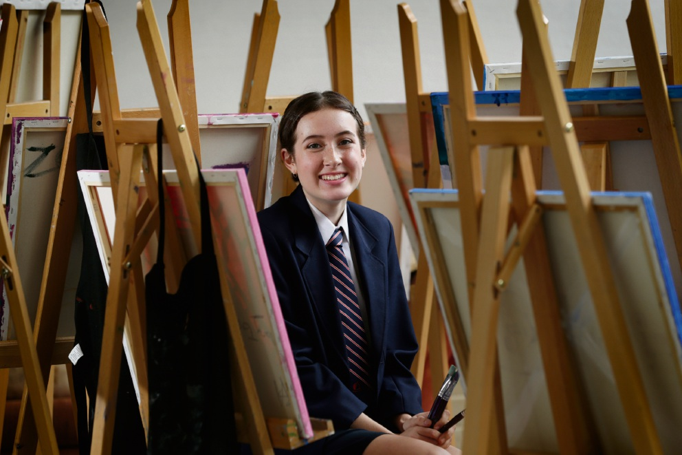 Balcatta SHS year 10 student Torren Whissen's portrait of a Korean War veteran was the only WA entry to be shortlisted for the prestigious Young Archie award. Picture: Andrew Ritchie
