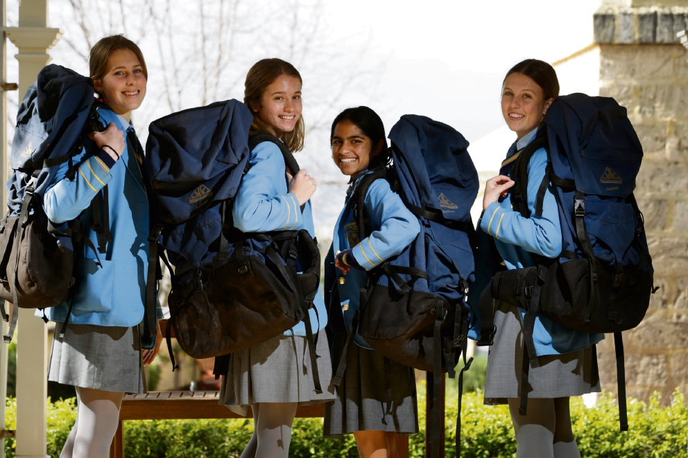 Olivia Caldow, Saasha Skirving, Rachel Lobo and Sabine Higgins from St Hilda''s students are taking part in the 40-Hour Famine''s backpack challenge (August 11 - 13). Picture: Andrew Ritchie www.communitypix.com.au   d472378