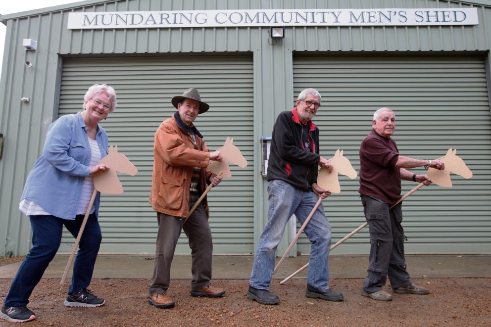 Clr Lynn Fisher (Shire of Mundaring), Clr David Lavell (Shire President), Martin Beal (Mens Shed President) and Brian Payne (Mens Shed) . Picture: Bruce Hunt
