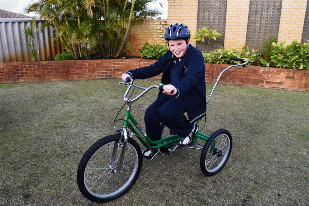 Conor Brown on his modified trike.