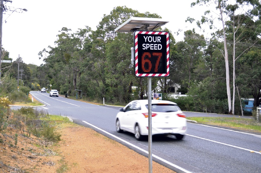 One of the new speed signs along Thomas Road in Glen Forrest.