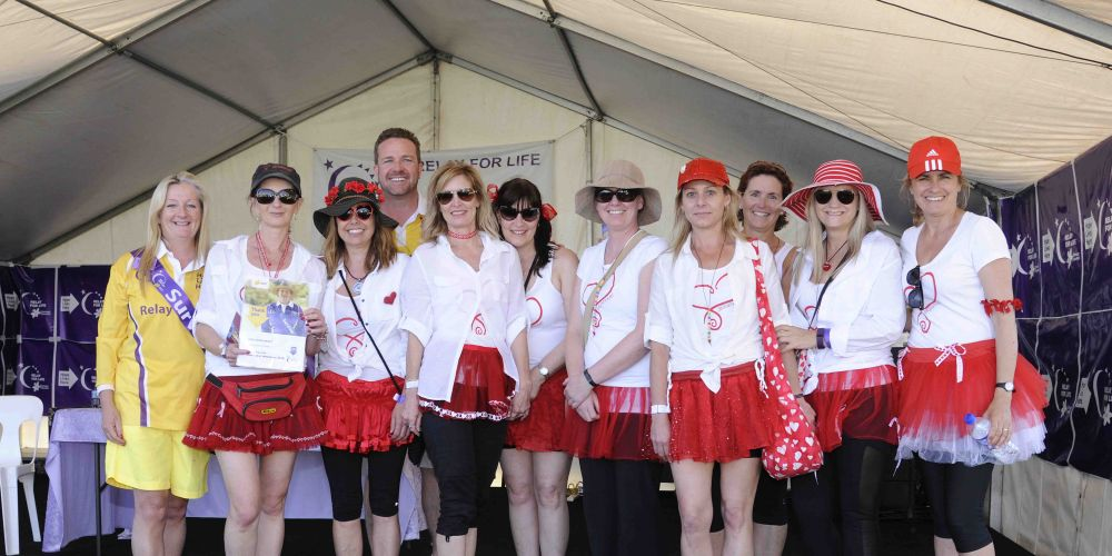 Girls with Heart are the pulse of Relay for Life Joondalup Wanneroo, collecting various awards since the event began in 2008. Girls with Heart team members are pictured with Relay chairperson Troy Pickard and event ambassador Tracey Roberts.