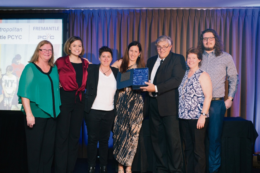 Fremantle PCYC staff and volunteers with their Centre of the Year-Metropolitan award.