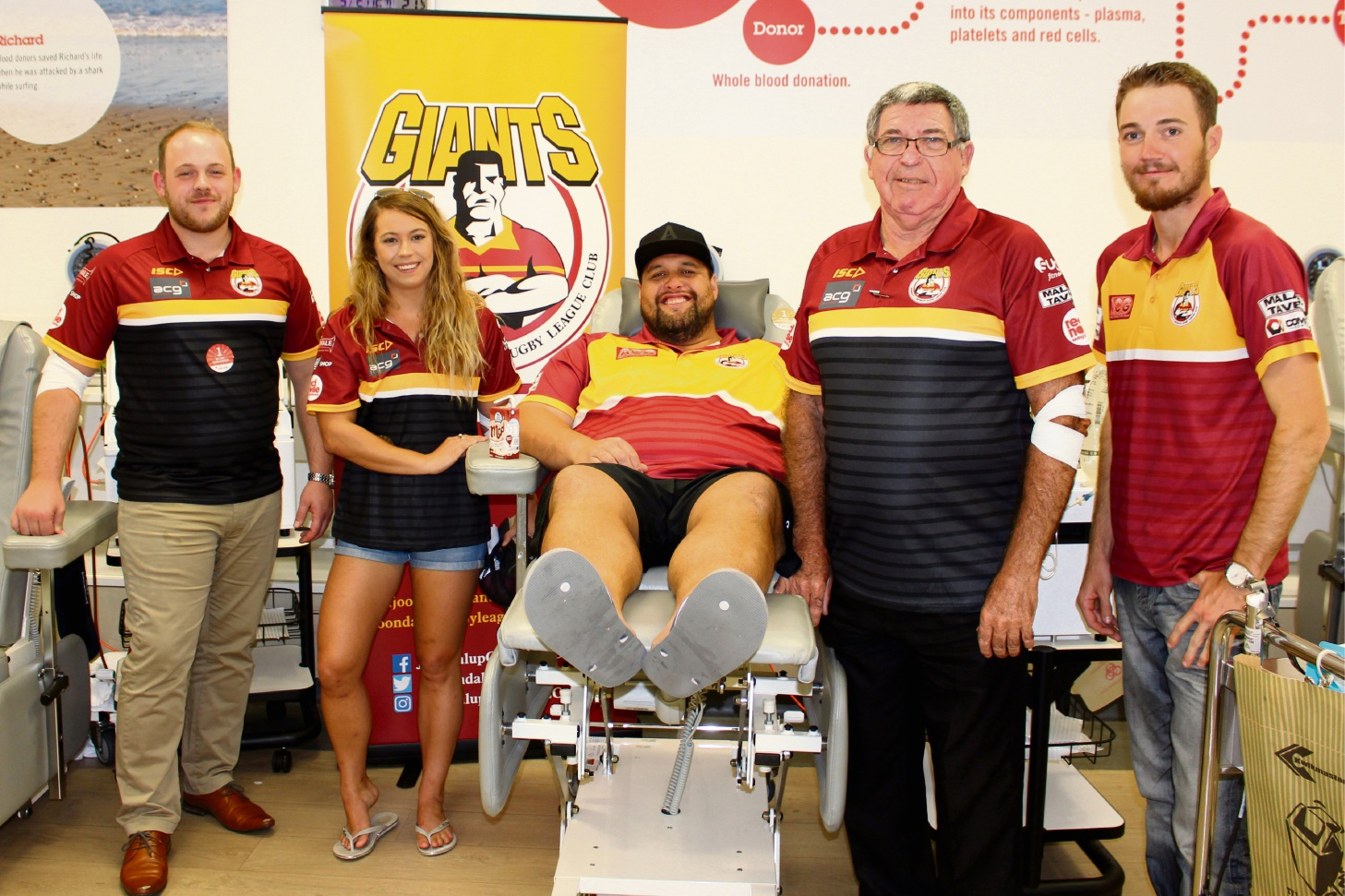 Joondalup Giants president Samuel Norton, Stacey Hendriks, Principal Fuimaono, vice president Jeff Costello and James Howarth. Picture: Red Cross