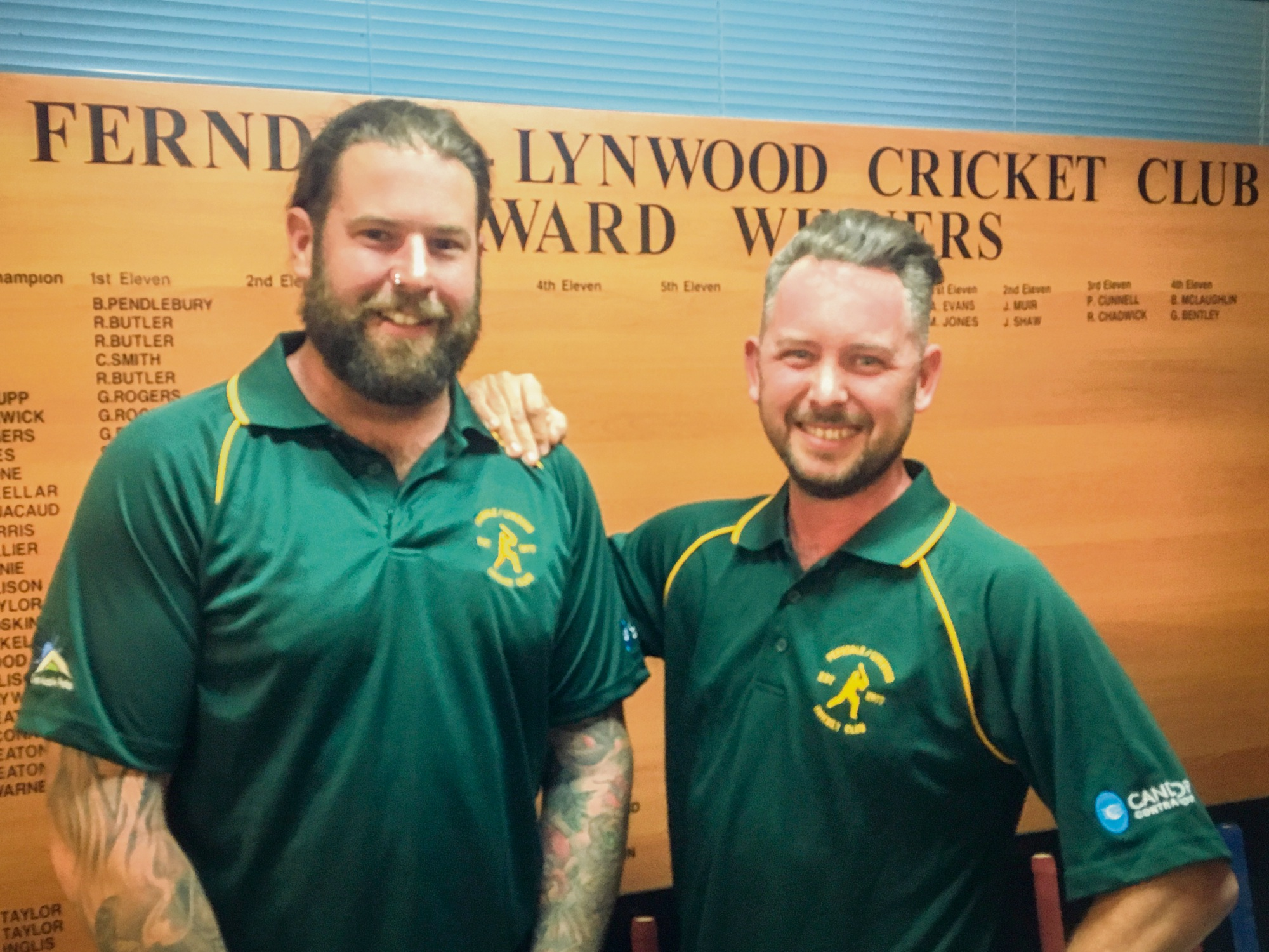 First grader Matt Jones (left) with Ferndale Lynwood Cricket Club's new head coach Alan Zanich.