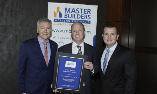 Master Builders executive director Michael McLean, Peter Fairweather of W. Fairweather & Son and Master Builders state president Robert Spadaccini.