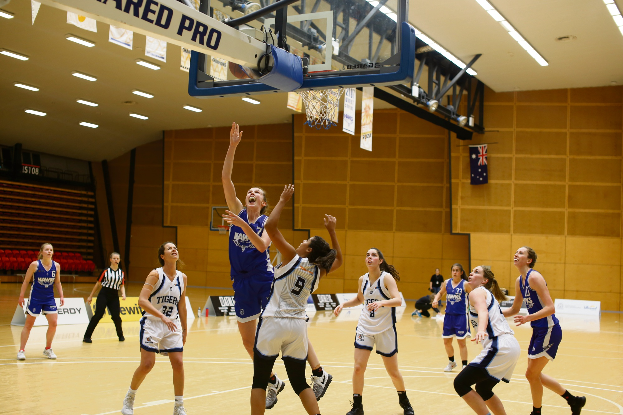 Hawks player Toni Farnworth shooting over the top of the Tigers' Des Kelley. Picture: James O'Donohue