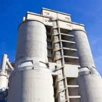 Large towers of a concrete plant.