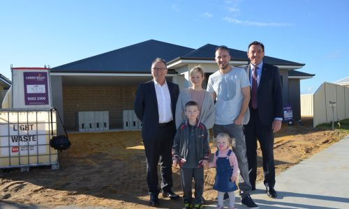 Mandurah MLA David Templeman, Lisa and Richard Smith, children Liam and Aliyah and Housing Minister Peter Tinley.