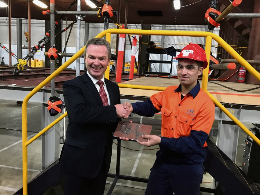 Defence Minister Christopher Pyne's signature was welded into the hull of the first Pacific patrol boat built in Henderson.