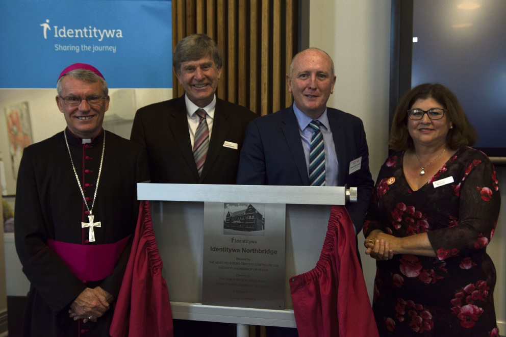 Most Reverend Archbishop Timothy Costelloe, Board Chair, Graeme Mander, Disability Services Minister Stephen Dawson and Identitywa chief executive Marina Re.