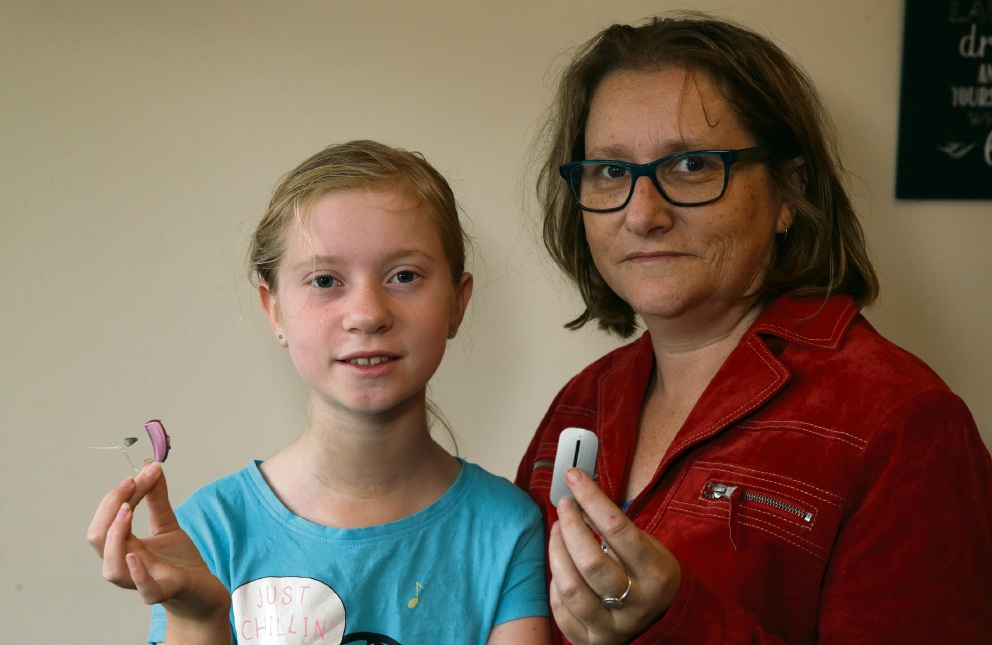 Alyssa Cranston and her mother Christine. A new hearing device has made a huge difference to Alyssa's progress in school.