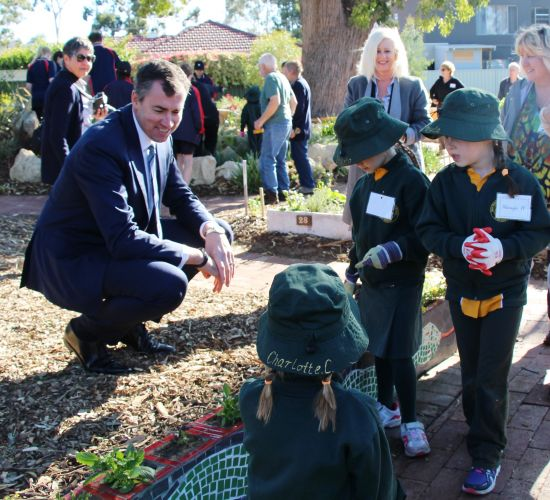 Local school children show Federal Member for Stirling Michael Keenan the herbs they have planted at the Hamersley Habitat Community Garden.