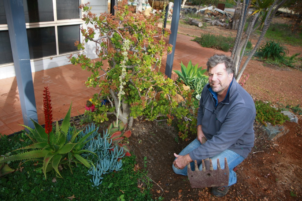 Rohan Carboon in a garden planted with succulents near windows to reduce fire risk.
