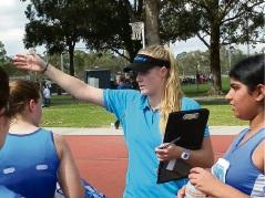 Rachel Southam coaching her under 15s Zodiac Netball Club team on the weekend.