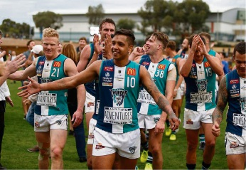 Peel Thunder celebrate after earning a spot in the WAFL Grand Final. Picture: Theron Kirkman