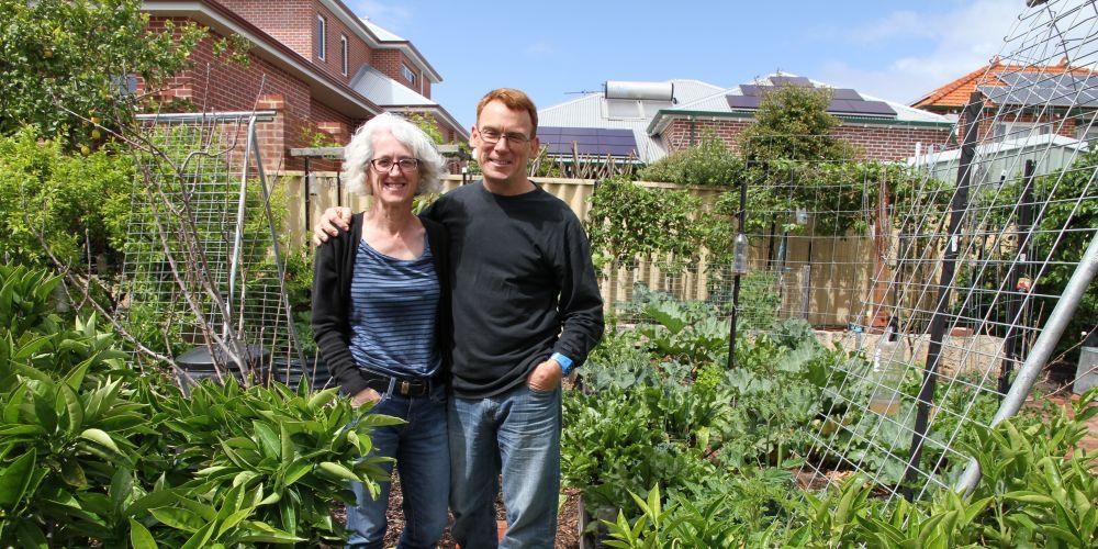 Mary Boyce and Matt Molloy in their North Perth garden.