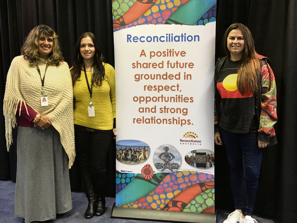 City of Melville community development officers Leanne Woods and Shahna Rind with Aboriginal filmmaker Karla Hart.