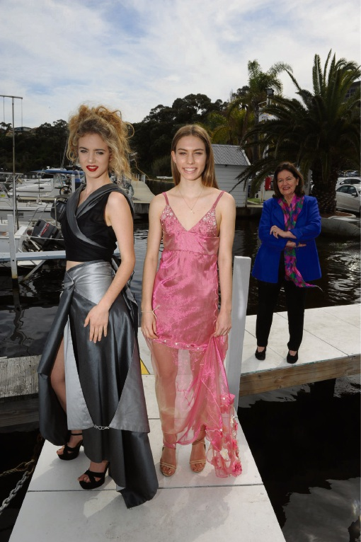 MLC fashion students Annabel Gunning and Lauren Terriaca displayed their designs at the fashion show hosted by Liz Davenport. Picture: Jon Bassett