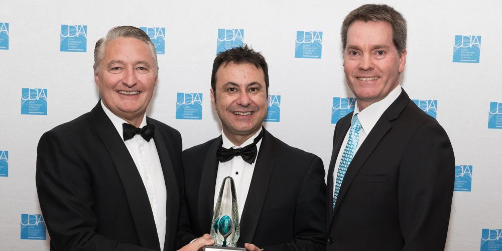 Lendlease WA Communities general manager Anthony Rowbottam with LandCorp chief executive Frank Marra and Veris general manager Gavin Hassett.