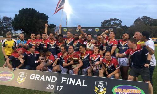 Fremantle Roosters celebrates its 2017 NRLWA premiership win.