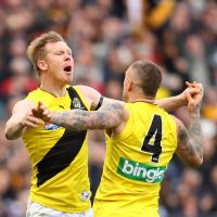 Jack Riewoldt of the Tigers celebrates kicking a goal during the 2017 AFL Grand Final match between the Adelaide Crows and the Richmond Tigers at the MCG. Picture: Cameron Spencer/AFL Media/Getty Images.