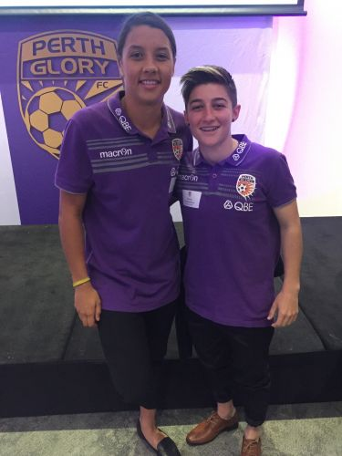 Perth Glory Women's captain Samantha Kerr with teammate Patricia Charalambous.