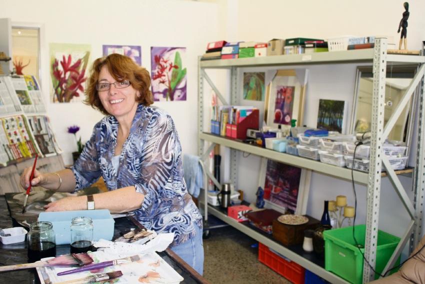 Previous resident artist Trudi Whitcher in a CASM studio.