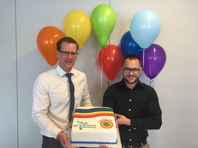 Richmond Wellbeing operations executive manager Adrian Munro and LGBTQI Champion Jason Reynold.