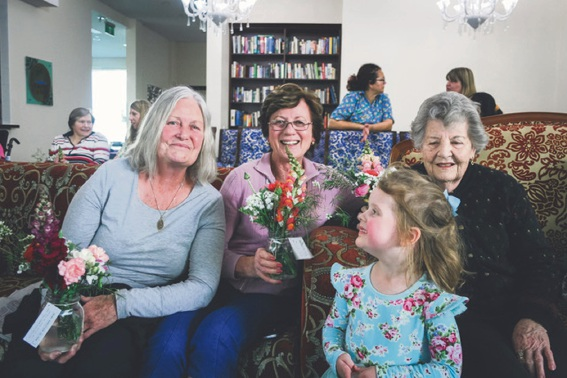 Regent Gardens residents Joan Brown (left), Cynthia Moysey and Muriel Creasey with Oasis Church member Ruby Farina.