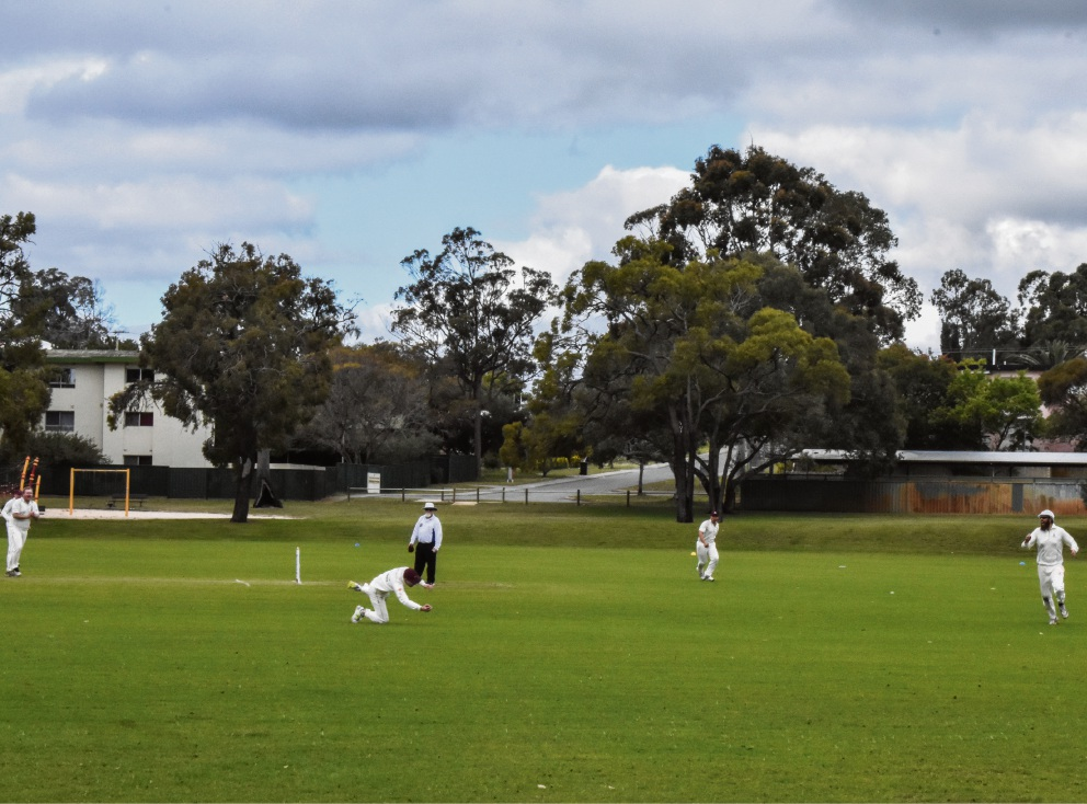 Second grade captain Josh Atkinson takes a screamer at cover to claim the first catch of the season.