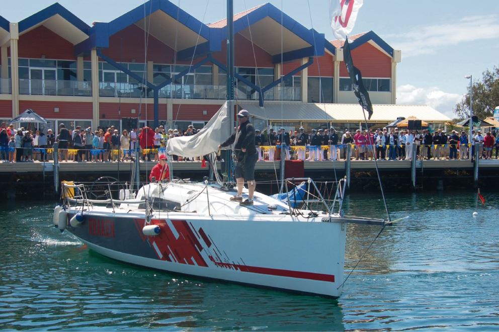 Kraken leaves Hillarys Yacht Club, bound for Melbourne.