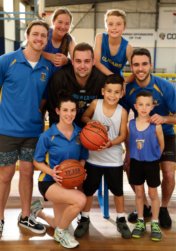 Jake Harris (coach), Meaghan Varian (11), Kieran O'Connor (coach), Nicole Roberts (coach), Max Dimmock (9), Chace Nuku (8), Tyrone Thwaites (leader of coaching and player pathways) and Daniel Sgro (10). Picture: Martin Kennealey www.communitypix.com.au d474250