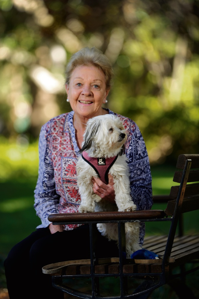 Heather Henderson with her dog Tilly. Picture: Andrew Ritchie d474967