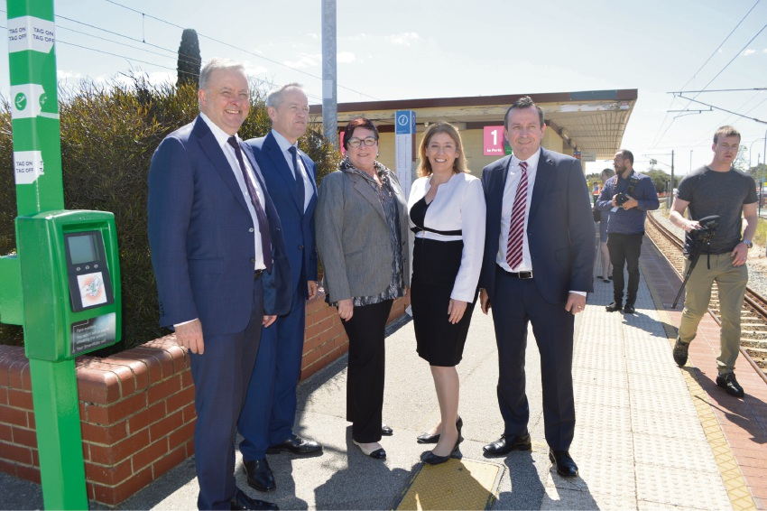Federal Shadow Transport Minister Anthony Albanese, Federal Leader of the Opposition Bill Shorten, Maylands MLA Lisa Baker, WA Transport Minister Rita Saffioti and Premier Mark McGowan.