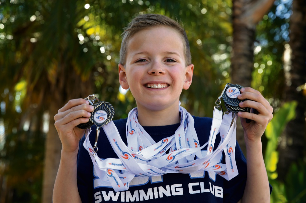 Liam Ison (8) from Southside Penrhos Wesley Swimming Club. Picture: Martin Kennealey www.communitypix.com.au   d474675
