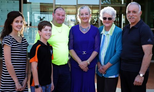Wanneroo Mayor Tracey Roberts (centre) with baton bearers Chloe Clements (Pearsall), Scott Guerini (11, Alkimos), Rusty Nelligan (Marangaroo), Margaret Cockman (Ashby) and Brian Pozzi (Woodvale). Picture: Martin Kennealey d474987