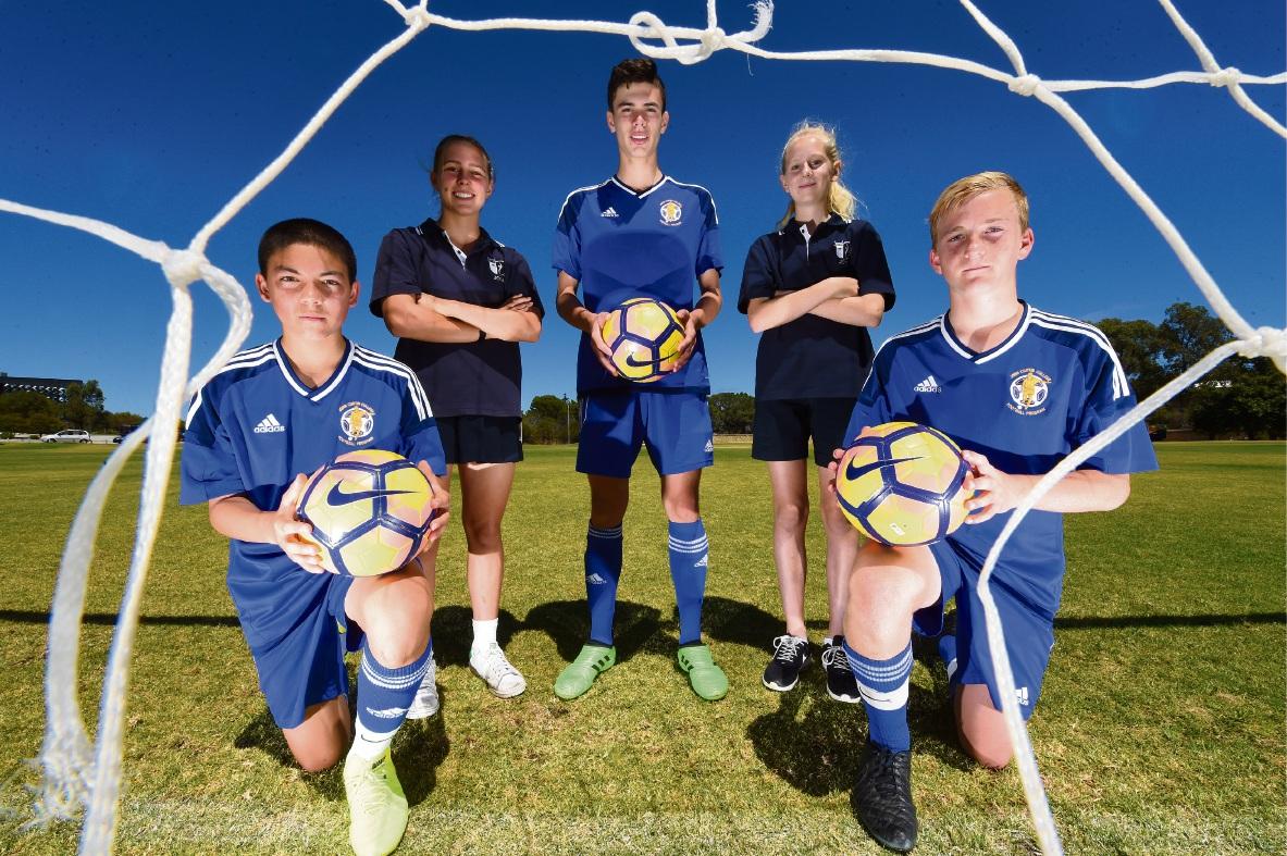 Rising soccer stars James Nixon, Leticia McKenna, Fraser Dunlop, Hana Lowry and Hamish Van Dieken. Picture: Jon Hewson    d476559