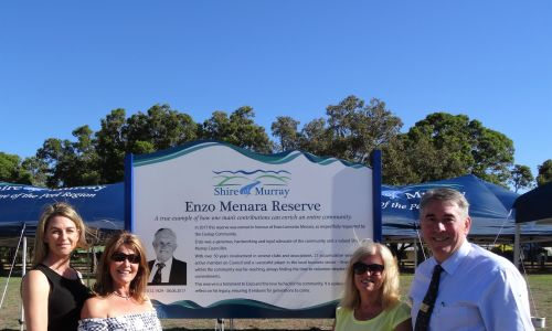 Coolup Progress Association president Ange Rogers, Mr Menara's daughters Jacqui Menara and Tania Eccles and shire president David Bolt at the reserve.